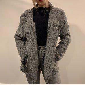 Lou & Grey Charcoal Wool Blend Open Knit Coat